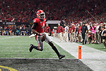 ATLANTA, GA - JANUARY 08: Mecole Hardman #4 of the Georgia Bulldogs scores a touchdown against the Alabama Crimson Tide during the College Football Playoff National Championship held at Mercedes-Benz Stadium on January 8, 2018 in Atlanta, Georgia. (Photo by Jamie Schwaberow/Getty Images)