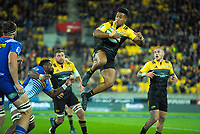 Julian Savea takes a high ball during the Super Rugby match between the Hurricanes and Stormers at Westpac Stadium in Wellington, New Zealand on Friday, 5 May 2017. Photo: Dave Lintott / lintottphoto.co.nz