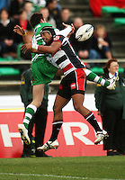Counties fullback Ahsee Tuala and Manawatu winger Andre Taylor compete for a high ball during the Air NZ Cup rugby match between Manawatu Turbos and Counties-Manukau Steelers at FMG Stadium, Palmerston North, New Zealand on Sunday, 2 August 2009. Photo: Dave Lintott / lintottphoto.co.nz