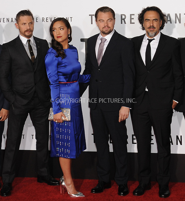 WWW.ACEPIXS.COM<br /> <br /> December 16 2015, LA<br /> <br /> Tom Hardy, Grace Dove, Leonardo Dicaprio, Alejandro Gonzalez arriving at the premiere of 'The Revenant' at the TCL Chinese Theatre on December 16, 2015 in Hollywood, California.<br /> <br /> <br /> By Line: Peter West/ACE Pictures<br /> <br /> <br /> ACE Pictures, Inc.<br /> tel: 646 769 0430<br /> Email: info@acepixs.com<br /> www.acepixs.com