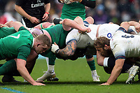 The Ireland and England forward packs at a scrum. Natwest 6 Nations match between England and Ireland on March 17, 2018 at Twickenham Stadium in London, England. Photo by: Patrick Khachfe / Onside Images