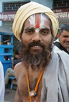 Sadhu on pilgrimage for Kartik Purnima (eight full moon of the year) to bath in Pushkars sacred lake, Rajastan, India