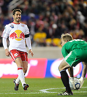Juan Pablo Angel (9) of the New York Red Bulls pulls up as Chicago Fire goalkeeper Andrew Dykstra (40) gathers up the ball during the second half of a Major League Soccer match between the New York Red Bulls and the Chicago Fire at Red Bull Arena in Harrison, NJ, on March 27, 2010. The Red Bulls defeated the Fire 1-0.