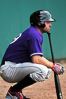 Cincinnati Reds first baseman Joey Votto (19)  in a rehabilitation appearance with the Louisville Bats versus the Pawtucket Red Sox  at McCoy Stadium on June 8, 2014 in Pawtucket, Rhode Island. (Ken Babbitt/Four Seam Images)
