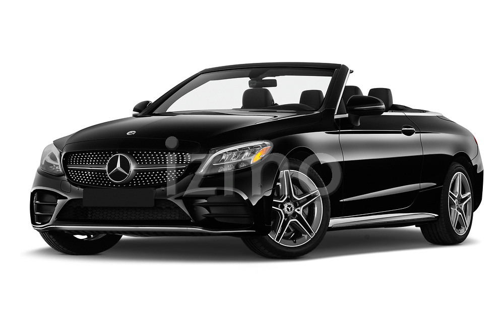 Stock pictures of low aggressive front three quarter view of 2019 Mercedes Benz C-Class C300- 2 Door Convertible Low Aggressive