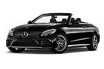 Stock pictures of low aggressive front three quarter view of 2020 Mercedes Benz C-Class C300- 2 Door Convertible Low Aggressive