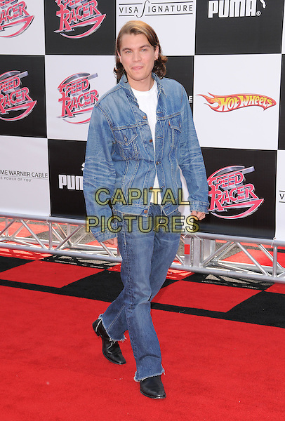 "EMILE HIRSCH .Attending The Warner Brothers Pictures World Premiere of ""Speed Racer"" held at The Nokia Theatre in Los Angeles, California, USA, April 26th 2008.                                                                     Full length denim shirt jeans jean jacket .CAP/DVS.©Debbie VanStory/Capital Pictures"
