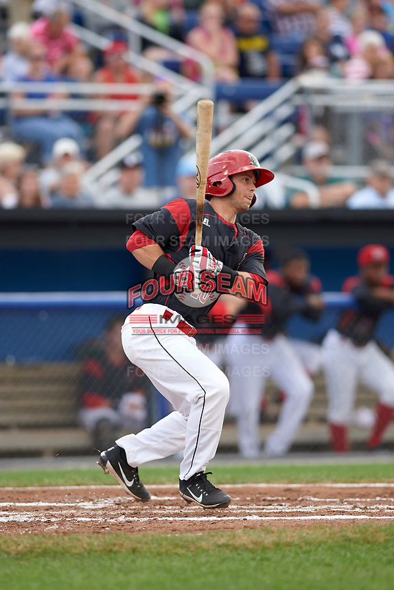Batavia Muckdogs right fielder Harrison White (40) hits a single during a game against the Tri-City ValleyCats on July 14, 2017 at Dwyer Stadium in Batavia, New York.  Batavia defeated Tri-City 8-4.  (Mike Janes/Four Seam Images)