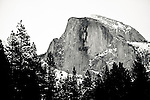 Yosemite, Half Dome in Winter with snow and trees.<br />