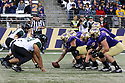 SEATTLE, WA - SEPTEMBER 14: Washington's (56) Nick Harris (C) gets set to hike the ball during the college football game between the Washington Huskies and the Hawaii Rainbow Warriors on September 14, 2019 at Husky Stadium in Seattle, WA. Jesse Beals / www.Olympicphotogroup.com