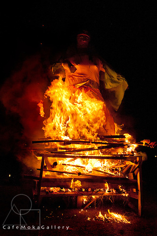 The burning of the demoness Holika in memory of the escape of Prahlad the boy due to his devotion. Phagwa