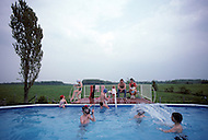 Ile D'Orleans, Quebec City Area, Canada, June 8, 1984. Afternoon in the swimming pool.