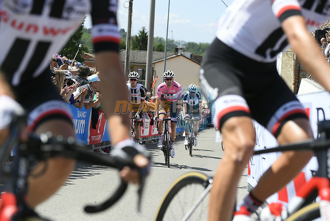 Race leader Maglia Rosa Tom Dumoulin (NED) Team Sunweb arrives at sign on before the start of Stage 14 of the 100th edition of the Giro d'Italia 2017, running 131km from Castellania to Oropa, Italy. 20th May 2017.<br /> Picture: LaPresse/Fabio Ferrari | Cyclefile<br /> <br /> <br /> All photos usage must carry mandatory copyright credit (&copy; Cyclefile | LaPresse/Fabio Ferrari)