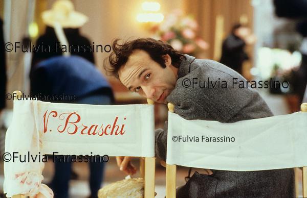 Rimini, Grand Hotel Rimini, 1991 circa, Roberto Benigni sul set del film Johnny Stecchino, Rimini, Grand Hotel Rimini,about 1991, Roberto Benigni on Johnny Stecchino movie set