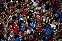 MEDELLÍN - COLOMBIA, 04-11-2017: Hinchas del Medellín animan a su equipo durante el partido entre Independiente Medellín y Alianza Petrolera por la fecha 19 de la Liga Águila II 2017 jugado en el estadio Atanasio Girardot de la ciudad de Medellín. / Fans of Medellin cheer for their team during match between Independiente Medellin and Alianza Petrolera for the date 19 of the Aguila League II 2017  at Atanasio Girardot stadium in Medellin city. Photo: VizzorImage/ León Monsalve / Cont