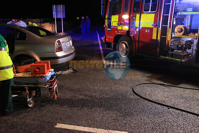 The scene of a two vehicle RTC at barn hill cross outside Termonfeckin, The very slow impact damaged the wing of each car but failed to break the headlight glass. Up to five occupants were removed by ambulance to Our lady of Lourdes hospital, with Fire Assets from Drogheda and Dunleer tied up at the scene for over two hours as each casualty was being treated for neck injuries..Picture  www.newsfile.ie..
