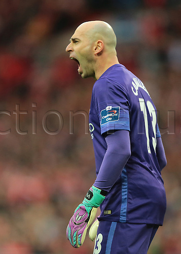 28.02.2016. Wembley Stadium, London, England. Capital One Cup Final. Manchester City versus Liverpool. Manchester City Goalkeeper Wilfredo Caballero calls out instructions during a Liverpool throw in