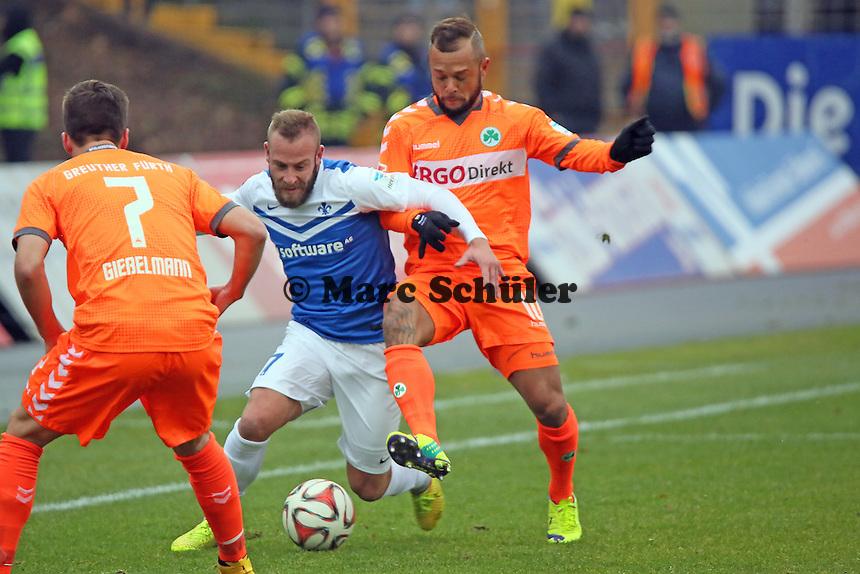 Marco Sailer (SV98) gegen Stephan Schroeck (Fuerth) - SV Darmstadt 98 vs. SpVgg. Greuther Fuerth, Stadion am Boellenfalltor