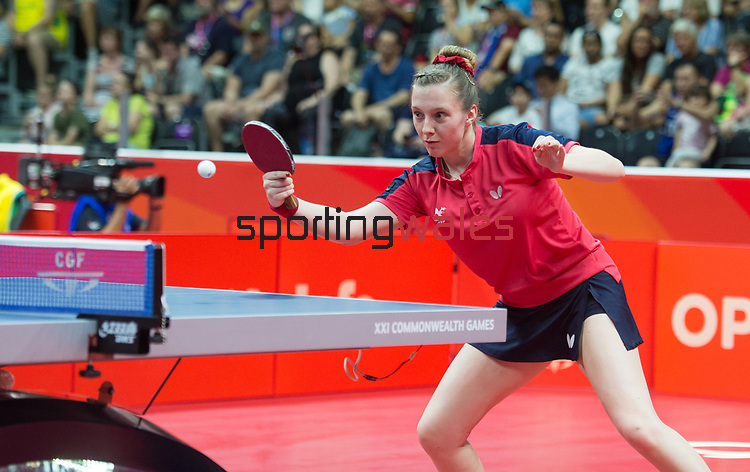 Wales Chloe Thomas in action during her match <br /> <br /> *This image must be credited to Ian Cook Sportingwales and can only be used in conjunction with this event only*<br /> <br /> 21st Commonwealth Games - Table tennis -  Day 1 - 05\04\2018 - Oxenford - Gold Coast City - Australia