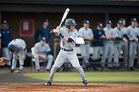 Jeremy Simpson (3) of the Catawba Indians at bat against the Belmont Abbey Crusaders at Abbey Yard on February 7, 2017 in Belmont, North Carolina.  The Crusaders defeated the Indians 12-9.  (Brian Westerholt/Four Seam Images)