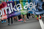 "Official banner on the 20th Korrika.  Irun (Basque Country). April 4, 2017. The ""Korrika"" is a relay course, with a wooden baton that passes from hand to hand without interruption, organised every two years in a bid to promote the basque language. The Korrika runs over 11 days and 10 nights, crossing many Basque villages and cities. This year was the 20th edition and run more than 2500 Kilometres. Some people consider it an honour to carry the baton with the symbol of the Basques, ""buying"" kilometres to support Basque language teaching. (Gari Garaialde / Bostok Photo)"