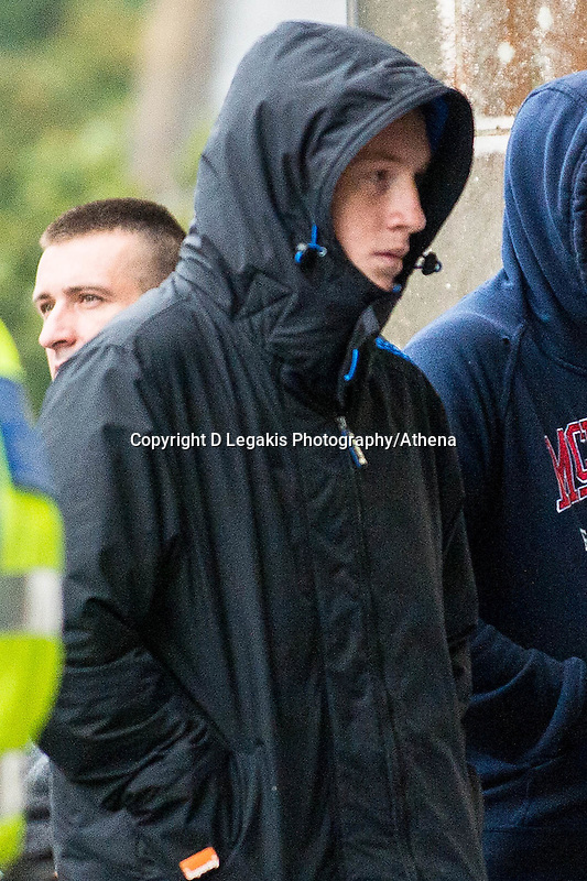 Friday  02 September 2016<br /> Pictured: Frank Lyn Lewis arrives at Swansea Crown Court<br /> Re: Two Teenagers have appeared in court following an alleged burglary at a Port Talbot cat sanctuary. <br /> Frank Lyn Lewis, aged 18, is accused of breaking into the Ty Nant Cat Sanctuary in Cymmer and stealing 10 cats, and of causing the unnecessary suffering of two cats by stabbing one, and shooting and stabbing the other<br /> A 15-year-old male - who cannot be named for legal reasons - is due to appeared in court.
