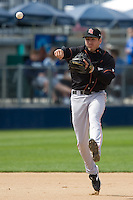 June 8, 2008: Fresno Grizzlies' Brian Bocock makes a running throw to first base during a Pacific Coast League game against the Tacoma Rainiers at Cheney Stadium in Tacoma, Washington.