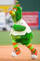 "Greensboro Grasshoppers mascot ""Guilford the Grasshopper"" runs the bases between innings at NewBridge Bank Park June 20, 2009 in Greensboro, North Carolina. (Photo by Brian Westerholt / Four Seam Images)"