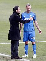 Getafe's coach Quique Sanchez Flores and Alexis Ruano during La Liga match.January 18,2013. (ALTERPHOTOS/Acero) /NortePhoto<br /> NortePhoto.com