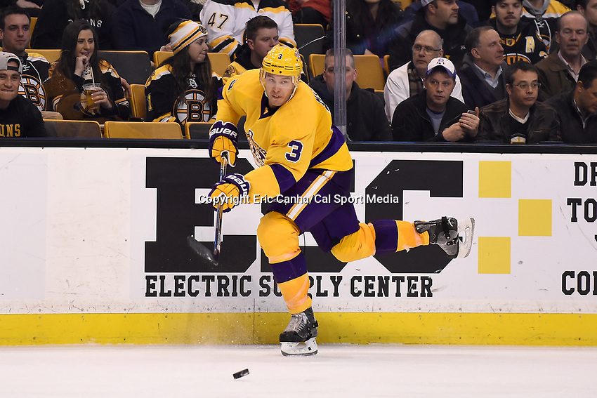 Tuesday, February 9, 2016: Los Angeles Kings defenseman Brayden McNabb (3) in game action during the National Hockey League game between the Los Angeles Kings and the Boston Bruins, held at TD Garden, in Boston, Massachusetts. The Kings defeat the Bruins 9-2. Eric Canha/CSM
