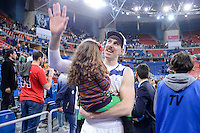 Real Madrid's  Andres Nocioni with his daughter celebrating the championship  during Quarter Finals match of 2017 King's Cup at Fernando Buesa Arena in Vitoria, Spain. February 19, 2017. (ALTERPHOTOS/BorjaB.Hojas)