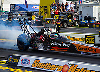 May 4, 2018; Commerce, GA, USA; NHRA top fuel driver Clay Millican during qualifying for the Southern Nationals at Atlanta Dragway. Mandatory Credit: Mark J. Rebilas-USA TODAY Sports