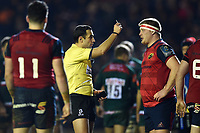 Referee Mathieu Raynal shows John Ryan of Munster Rugby a yellow card in the second half. European Rugby Champions Cup match, between Leicester Tigers and Munster Rugby on December 17, 2017 at Welford Road in Leicester, England. Photo by: Patrick Khachfe / JMP