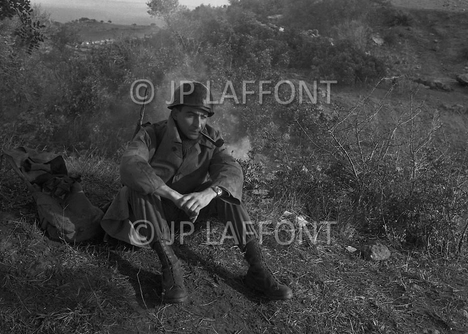 Ecole Militaire d'Infanterie de Cherchell, Algérie, Christmas 1960. Rainy day, JP Laffont now under Lieutenant.