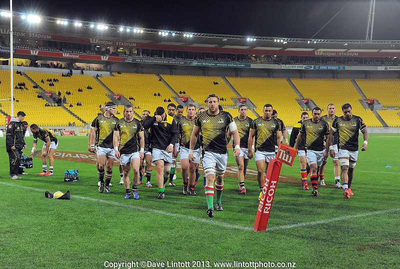 Jeremy Thrush leads his team in before the ITM Cup rugby union match between Wellington Lions and North Harbour at Westpac Stadium, Wellington, New Zealand on Saturday, 28 August 2013. Photo: Dave Lintott / lintottphoto.co.nz