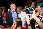 © Joel Goodman - 07973 332324 . 23/07/2016 . Salford , UK . Supporters posing for selfies with Jeremy Corbyn as he launches his campaign to be re-elected Labour Party leader , at the Lowry Theatre at Salford Quays . Photo credit : Joel Goodman