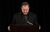 Reverend Paul Scalia, son of  the late Associate Justice of the Supreme Court Antonin Scalia, finishes a prayer at the memorial service for his father at the Mayflower Hotel in Washington, DC, Tuesday, March 1, 2016. <br /> Credit: Susan Walsh / Pool via CNP
