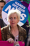 "© Joel Goodman - 07973 332324 . No syndication permitted . 29/09/2013 . Manchester , UK . Coronation Street actress Julie Hesmondhalgh who plays Hayley Cropper , at the front of the march . A Unison lead demonstration titled "" Save our NHS "" through Manchester City Centre today (Sunday 29th September 2013) coinciding with the Conservative Party Conference in the city . Photo credit : Joel Goodman"
