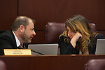 Nevada Assembly leaders Paul Anderson, R-Las Vegas, and Marilyn Kirkpatrick, D-North Las Vegas, work in committee at the Legislative Building in Carson City, Nev., on Monday, March 23, 2015. <br /> Photo by Cathleen Allison