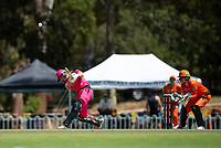 24th November 2019; Lilac Hill Park, Perth, Western Australia, Australia; Womens Big Bash League Cricket, Perth Scorchers versus Sydney Sixers; Erin Burns of the Sydney Sixers plays through midwicket during her innings - Editorial Use