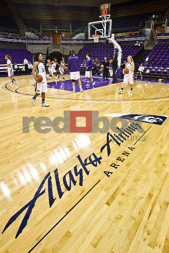 Alaska Airlines logo on basketball court, overall...-------Washington Huskies women's basketball against the Arizona Wildcats at Alaska Airlines Arena at Hec Edmundson Pavilion in Seattle on Thursday, January 26, 2012. (Photo by Dan DeLong/Red Box Pictures)