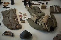 The uniforms and equipment of a British soldier of World War I are on display at L'Historial de la Grande Guerre in Peronne, La Somme, France, August 17, 2014, 2014 marks 100th anniversary of the Great War.