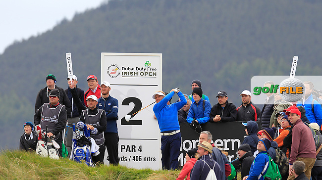 Soren KJELDSEN (DEN) tees off the 2nd tee during Saturday's Round 3 of the 2015 Dubai Duty Free Irish Open, Royal County Down Golf Club, Newcastle Co Down, Northern Ireland 5/30/2015<br /> Picture Eoin Clarke, www.golffile.ie