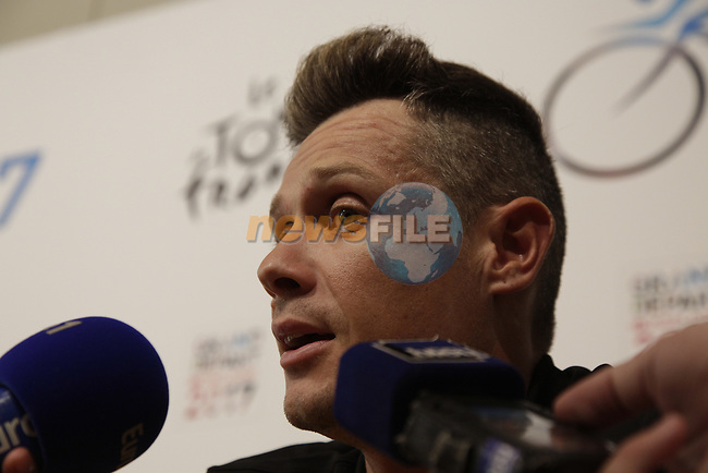 Nicolas Roche (IRL) BMC Racing Team press conference before the 104th edition of the Tour de France 2017, Dusseldorf, Germany. 29th June 2017.<br /> Picture: Eoin Clarke | Cyclefile<br /> <br /> <br /> All photos usage must carry mandatory copyright credit (&copy; Cyclefile | Eoin Clarke)