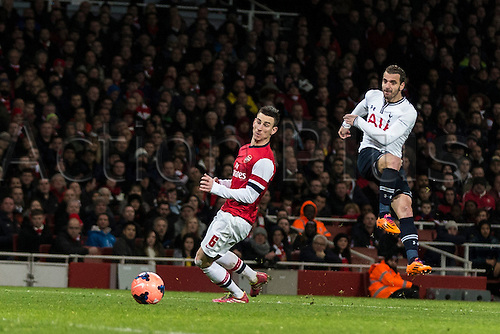04.01.2014 London, England.  Tottenham's Roberto SOLDADO gets a shot in during the FA Cup 3rd Round game between Arsenal and Tottenham Hotspur from the Emirates Stadium.