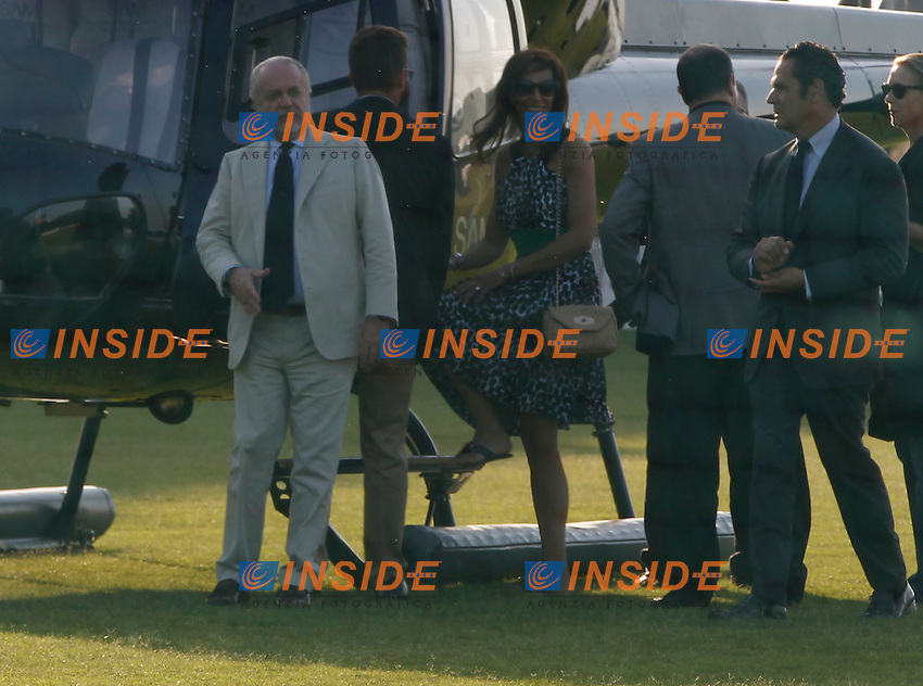 Aurelio De Laurentiis (L), Rafael Benitez (2r) and Maria Monserrano ( wife of Benitez ) near the helicopter of Napoli president<br /> Castel Volturno 21/6/2013 Centro sportivo SSC Napoli <br /> Football Calcio 2013/2013 Serie A<br /> Conferenza Stampa presentazione Allenatore <br /> Press conference new SSC Napoli trainer <br /> Foto Ciro De Luca / Insidefoto