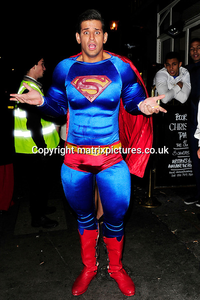 NON EXCLUSIVE PICTURE: MATRIXPICTURES.CO.UK<br /> PLEASE CREDIT ALL USES<br /> <br /> WORLD RIGHTS<br /> <br /> &quot;Made In Chelsea&quot; reality TV star Ollie Locke is pictured wearing a Superman costume to the Mahiki Halloween party in London.<br /> <br /> OCTOBER 31st 2013<br /> <br /> REF: ASI 137102
