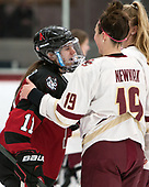 Christina Zalewski (NU - 11), Makenna Newkirk (BC - 19) -  The Boston College Eagles defeated the Northeastern University Huskies 2-1 in overtime to win the 2017 Hockey East championship on Sunday, March 5, 2017, at Walter Brown Arena in Boston, Massachusetts.