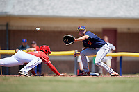 State College Spikes first baseman Brady Whalen (31) stretches for a pickoff attempt throw as Sean Reynolds (25) dives back to the bag during a game against the Batavia Muckdogs on July 8, 2018 at Dwyer Stadium in Batavia, New York.  Batavia defeated State College 8-3.  (Mike Janes/Four Seam Images)