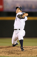 Empire State Yankees relief pitcher Ryota Igarashi #58 during a game against the Toledo Mudhens at Frontier Field on May 30, 2012 in Rochester, New York.  Empire State defeated Toledo 5-2.  (Mike Janes/Four Seam Images)
